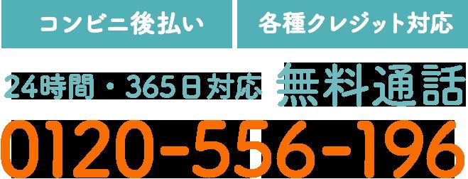 【コンビニ後払い】【各種クレジット対応】24時間・365日対応 無料通話 0120-556-196