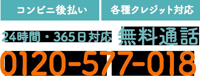 【コンビニ後払い】【各種クレジット対応】24時間・365日対応 無料通話 0120-577-018