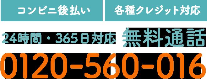 【コンビニ後払い】【各種クレジット対応】24時間・365日対応 無料通話 0120-560-016