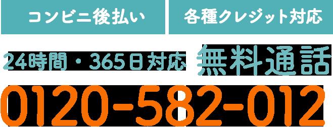 【コンビニ後払い】【各種クレジット対応】24時間・365日対応 無料通話 0120-582-012