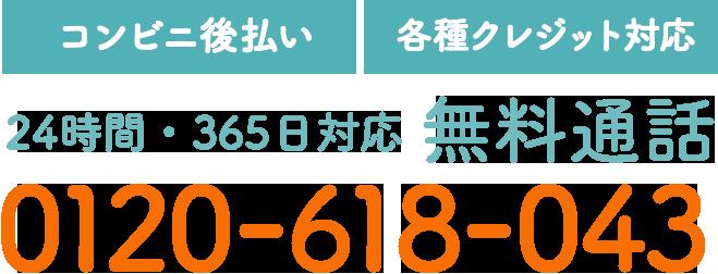 【コンビニ後払い】【各種クレジット対応】24時間・365日対応 無料通話 0120-618-043