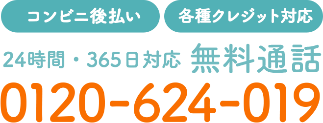 【コンビニ後払い】【各種クレジット対応】24時間・365日対応 無料通話 0120-624-019