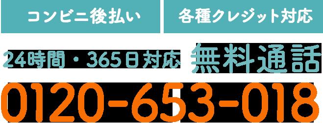 【コンビニ後払い】【各種クレジット対応】24時間・365日対応 無料通話 0120-653-018