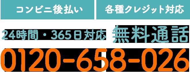【コンビニ後払い】【各種クレジット対応】24時間・365日対応 無料通話 0120-658-026