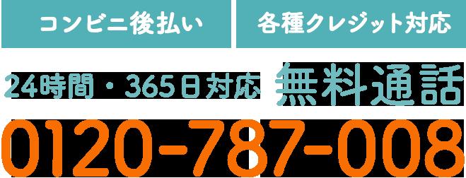 【コンビニ後払い】【各種クレジット対応】24時間・365日対応 無料通話 0120-787-008