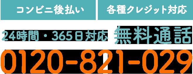 【コンビニ後払い】【各種クレジット対応】24時間・365日対応 無料通話 0120-821-029