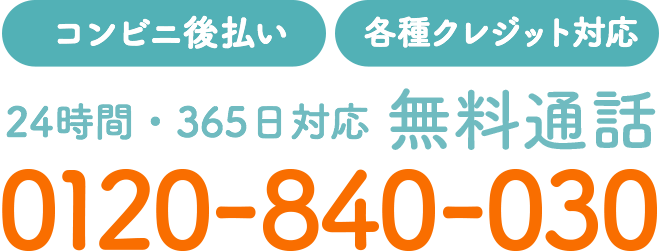 【コンビニ後払い】【各種クレジット対応】24時間・365日対応 無料通話 0120-840-030