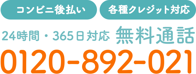 【コンビニ後払い】【各種クレジット対応】24時間・365日対応 無料通話 0120-892-021