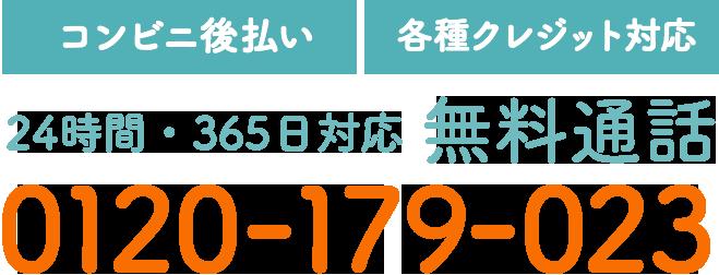 【コンビニ後払い】【各種クレジット対応】24時間・365日対応 無料通話 0120-179-023